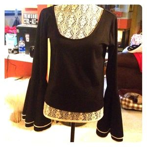 Black top with Bell sleeve sz L
